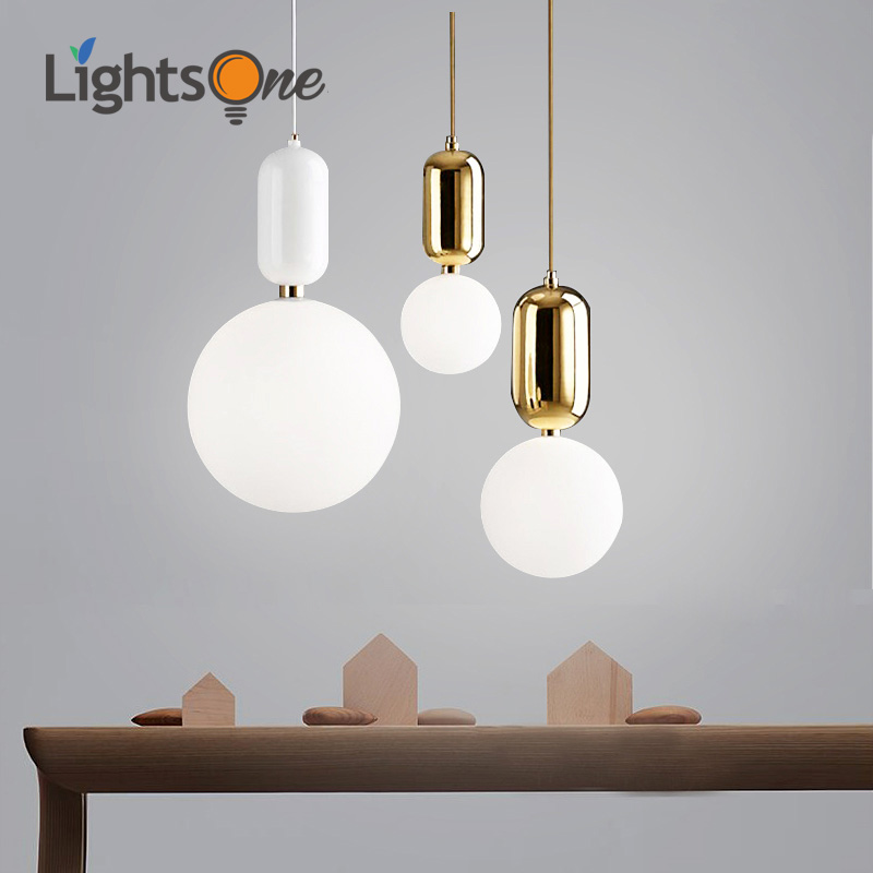 Nordic creative post modern restaurant pendant lamp bedroom children s room bar single glass ball pendant
