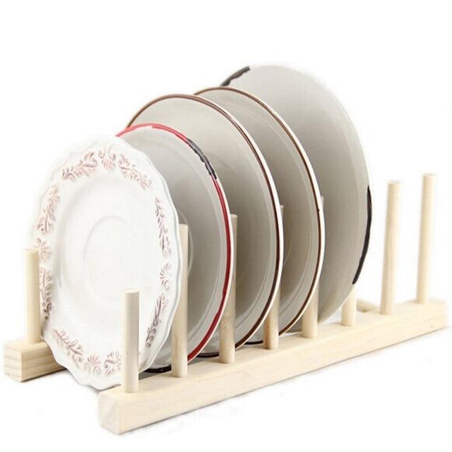 Online Shop Kitchen Wooden Rack Wood Plate Stand Display Holder Lids ...