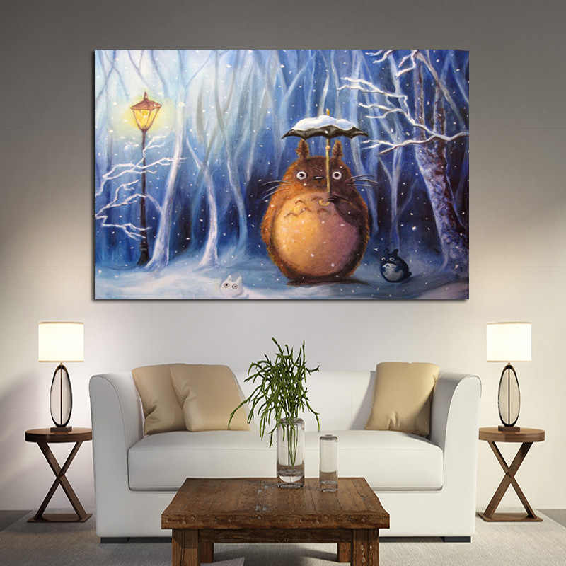 Modern Cartoon Hayao Miyazaki Totoro Neighbor Canvas Painting Anime Movie Poster Print Cuadros Art Wall Picture for Kid Room