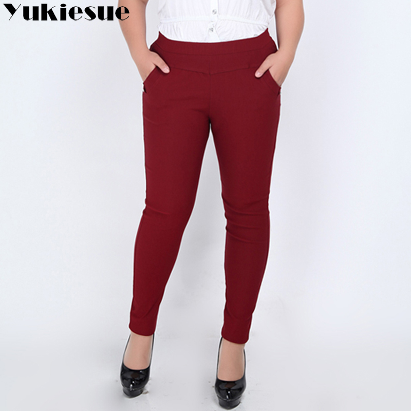 Plus size 5XL 6XL Women pencil   pants     capri   high elastic waist fleece stretch spliced office formal causal   pants   female trousers