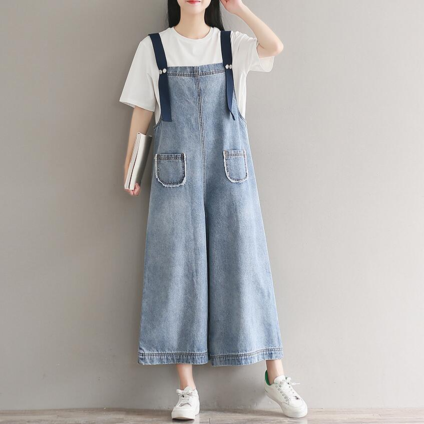 b517e6ebb99 New Denim Overalls Jumpsuits Plus Size High Quality Women Fashion Jumpsuits  Casual Suspenders Loose Literary Rompers -in Jumpsuits from Women s Clothing  on ...
