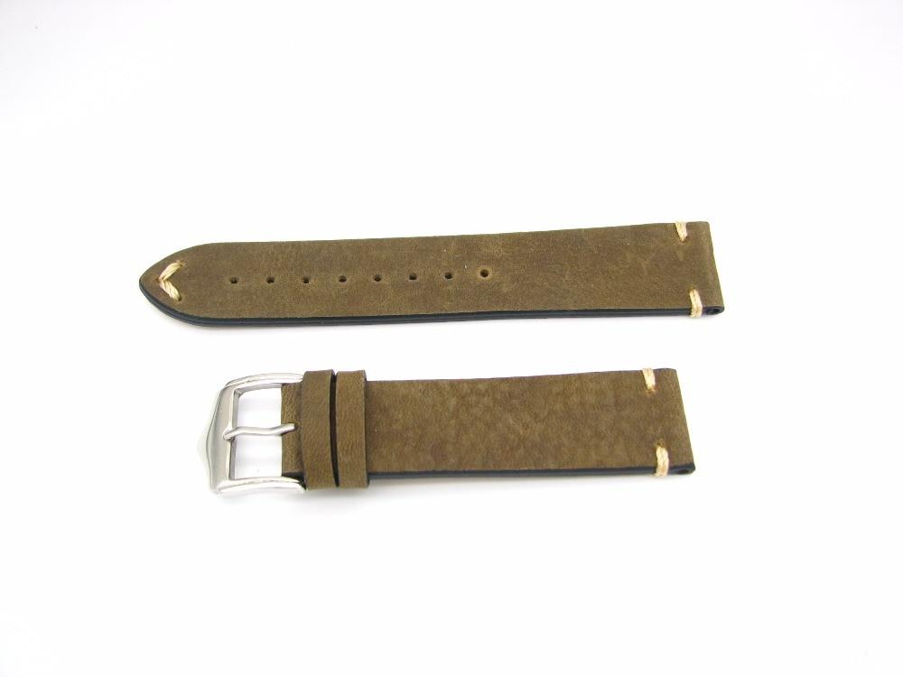 CARLYWET 20 22mm Echtes Leder Grün Braun Vintage Uhrenarmbänder - Uhrenzubehör - Foto 2