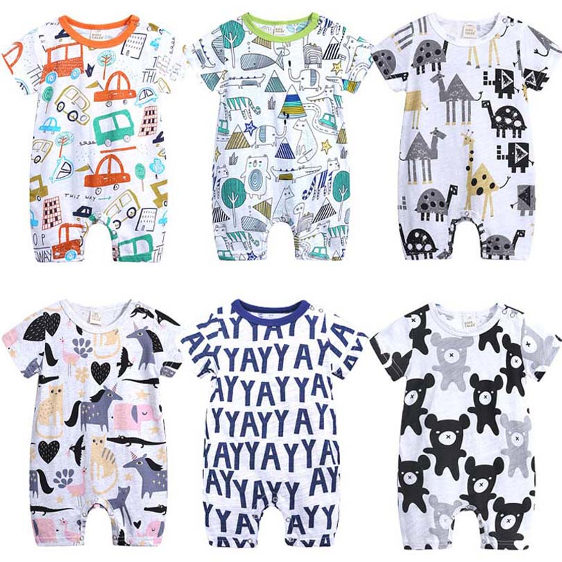 2019 Cartoon Baby Onesies Summer Cotton Romper Boy Girls 0-24 Months Kids Clothes Knitted Cartoon Short-sleeved Jumpsuit Outfits