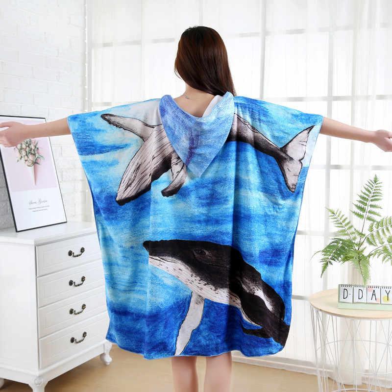 Банное полотенце из микрофибры с капюшоном и принтом животных для мужчин и женщин, пончо полотенце для серфинга, банное полотенце для взрослых