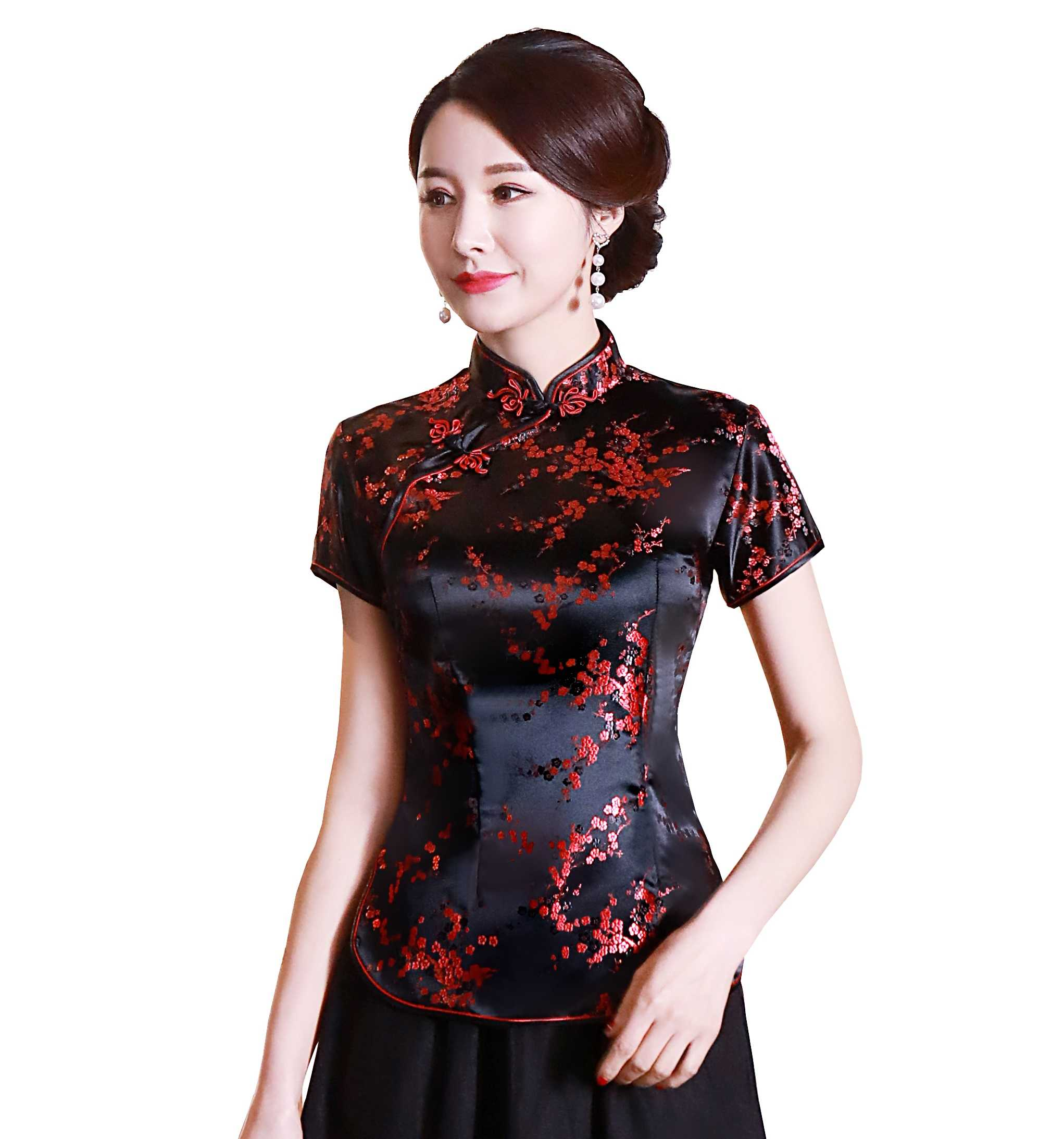 Shanghai Verhaal Korte Cheongsam top traditionele Chinese Faux Zijde/Satijn Top draak en phoenix Borduurwerk blouse top Qipao Shirt