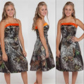 Camouflage Camo Bridesmaid Dresses A Line Strapless Backless Knee Length Country Style 2016 vestido de festa de casamento