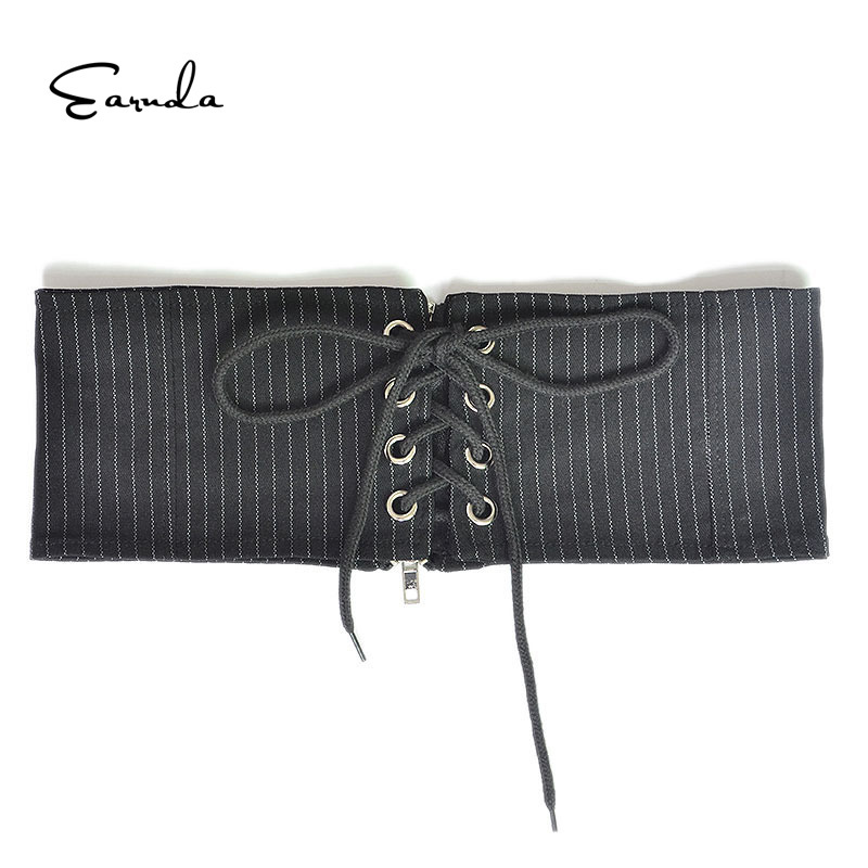 Earnda Female Belt Elastic Thin Black White Weaving Waistband With Zipper Ladies Stripe Wide Cotton Belts Stretchy Canvas Corset