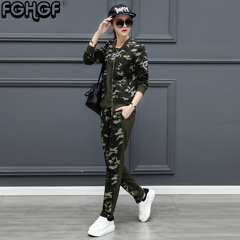 military style 3 piece set women camouflage short sleeve t shirt & Fashion Casual Baggy Pants & cotton jacket coat set W1822