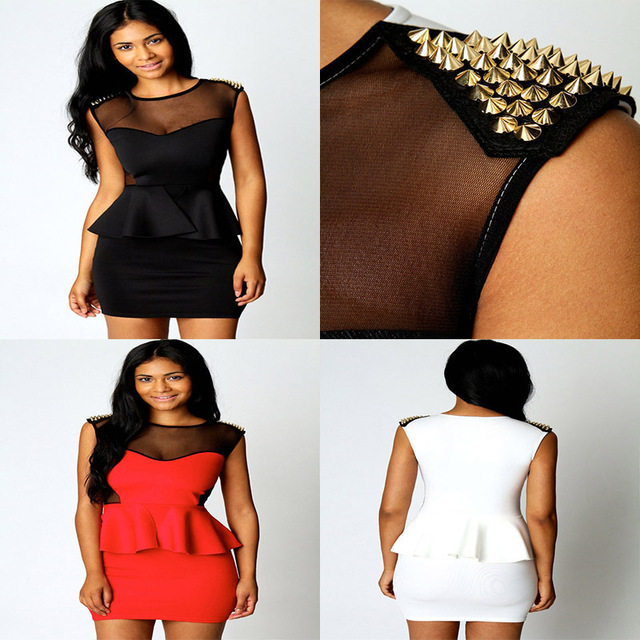 2014 Black Red White Summer Plus Size Clothing Fashion Punk One-piece Dresses Rivets Adornment Peplum Dress LB5160 Size S M L XL