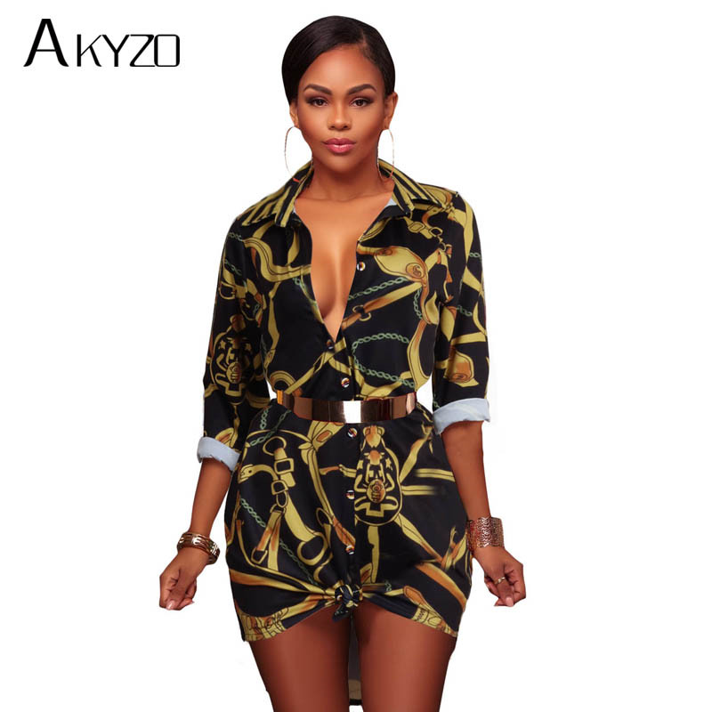 AKYZO 2017 Autumn Print Long Sleeve Blouse Women Casual Turn Down Collar Button Up Fashi ...
