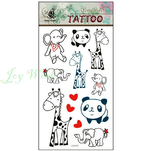 Waterproof Temporary Tattoo Sticker Little Elephant Panda Giraffe