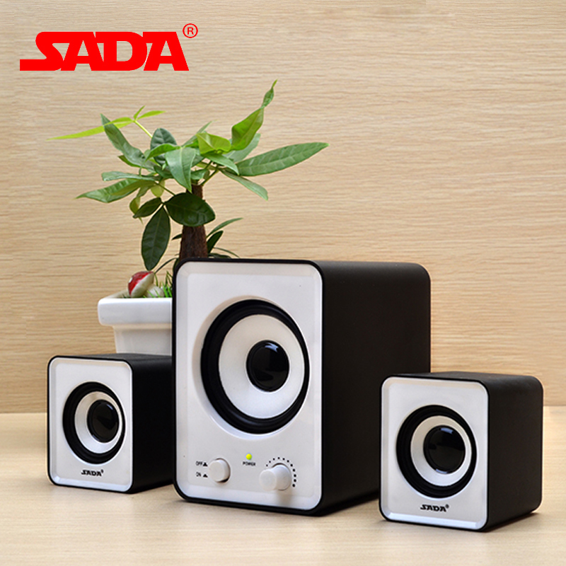 Original SADA 3D Surround Subwoofer Stereo Bass USB Speakers Portable For laptop Notebook PC Computer With 3.5mm Red White Black