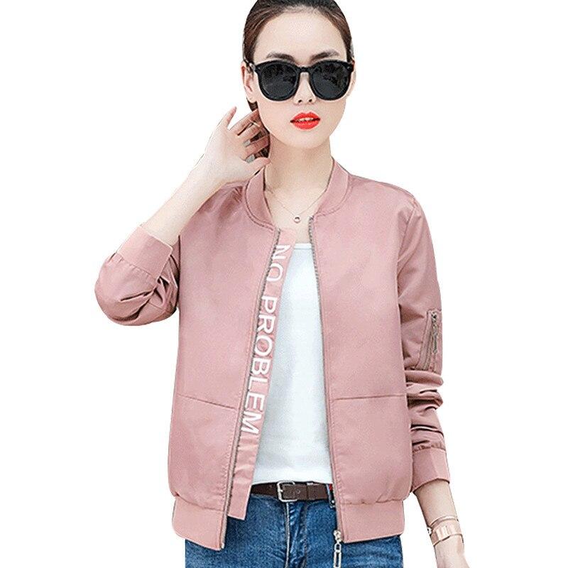 Women Coat 2019 Spring New Short Coat Female Loose Jacket Solid cColor Casual Baseball Uniform Long Sleeve Top Outerwear Q60