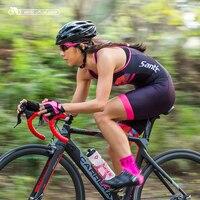 Santic Women Cycling Sleeveless Ladie Tri Suit Triathlon Suit for Run Swim Cycle Pro Fit Elastic L7C03011