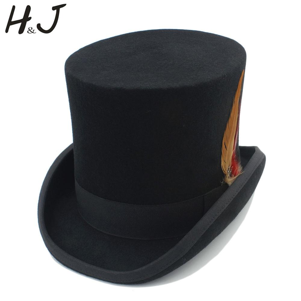 Bekleidung Zubehör 100% Wolle Schwarz Frauen Männer Steampunk Top Hut Mit Handgemachte Gläser Getriebe Feder Fedora Cosplay Hut Top 15 Cm 4 Größe