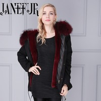 Black Shell Parka Real Fur Collar Winter Coats Ladies Long Sleeve Faux Fur Lined Hooded Plus