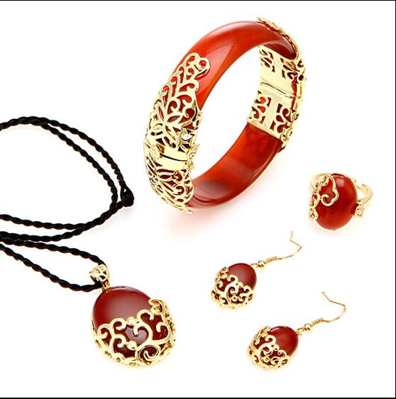 Chinese style natural red agate bracelet four pieces of gold plated Jade Bracelet