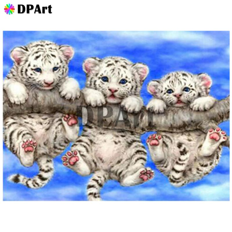 Diamond Painting 5D Full Square/Round Drill Three Young White Tiger Daimond Embroidery Painting Cross Stitch Mosaic Picture M767Diamond Painting 5D Full Square/Round Drill Three Young White Tiger Daimond Embroidery Painting Cross Stitch Mosaic Picture M767