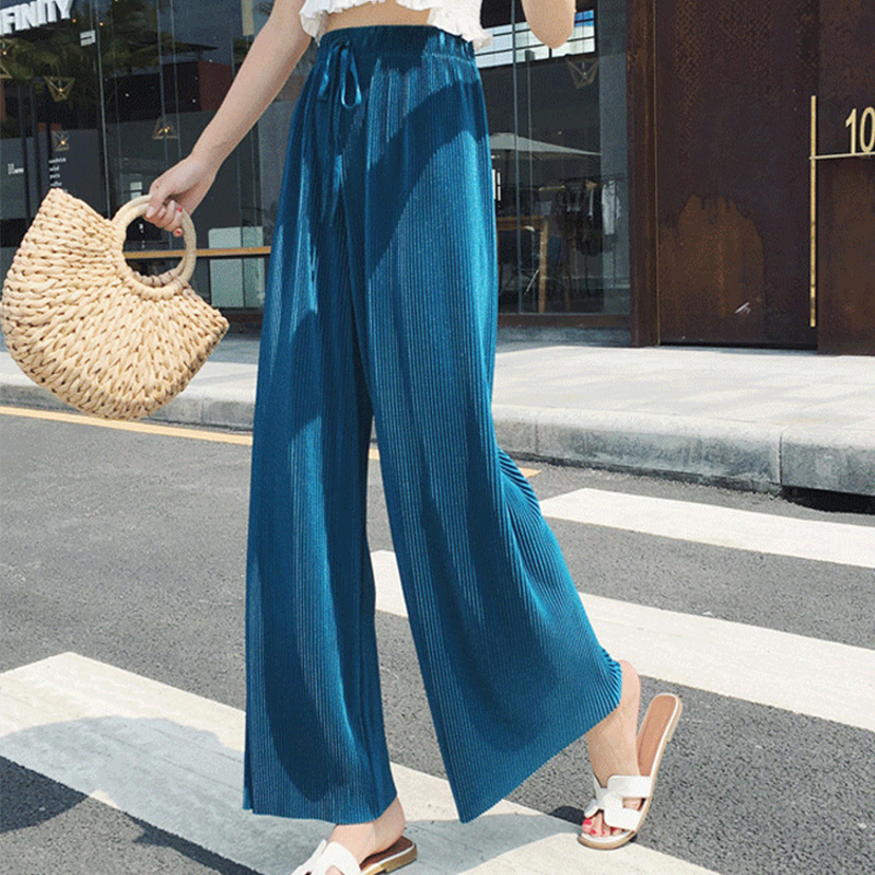 High Waist Women's Trousers Pleated Solid Color Nine Points   Wide     Leg     Pants   Women Casual Pink   Pants   Women Summer 2019 New