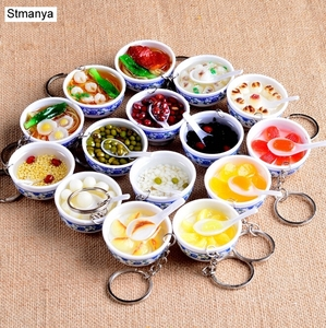 New Simulation Food Key Chains noodle New Keychain Chinese Blue and white porcelain Food Bowl Mini bag pendant #17169(China)