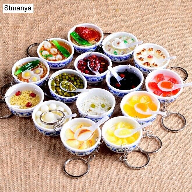 Neue Simulation Lebensmittel Key Ketten nudel Neue Keychain Chinesische Blau und weiß porzellan Lebensmittel Schüssel Mini tasche anhänger #17169