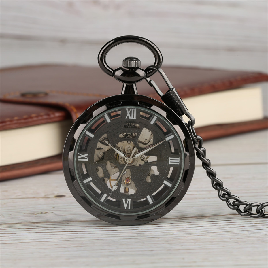 Black Skeleton Mechanical Pocket Watch Hand Winding Steampunk Watch Chain Roman Numerals Open Face Pendant Clock Top Gifts Item