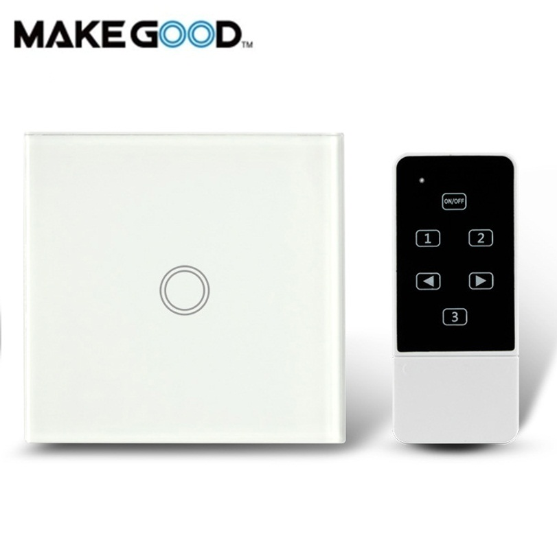 MakeGood UK Standard Touch & Remote Switch Crystal Glass Panel, Wall Light Touch Switch AC 110-250V Compatible Broadlink RM2 RM makegood uk standard 2 gang 1 way smart touch switch crystal glass panel wall switch ac 110 250v 1000w for light led indicator