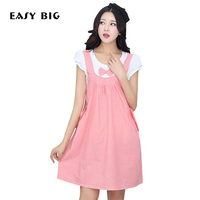 EASY BIG 2017 Summer Classic Bowknot Cute Maternity Jean Dresses Loose Clothes For Pregnant Women Pregnancy Clothing MC0009