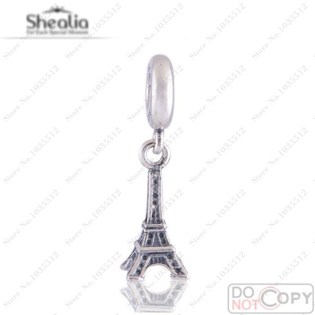 National Icon Eiffel Tower Pendant Charms Authentic 925 Sterling Silver Shealia Jewelry Findings Fit Pan Bracelets & Necklace