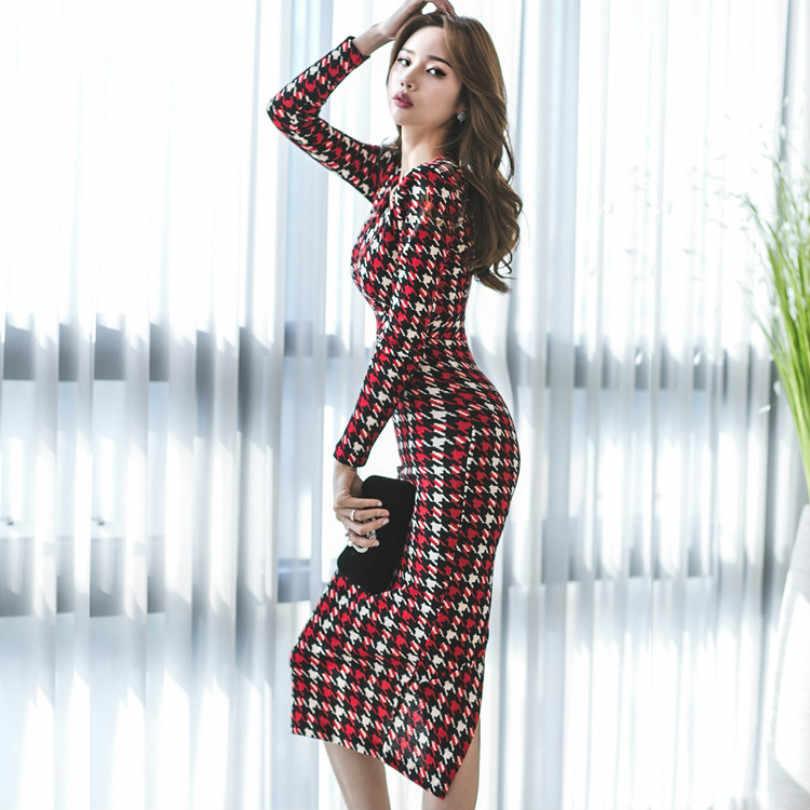 50d1507539b 2018 официальная деловая модельная одежда осень-зима корейский стиль моды  элегантные тонкие работы платья Леди