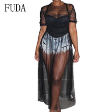 FUDA Plus Size XXXL Women Party Club Sexy See Through Mesh Dresses Female Ruffles Short Sleeve O Neck Elegant Dress Vestidos