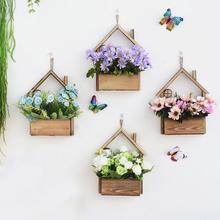 Скандинавский стиль настенный деревянный домик мясистый набор горшков для цветов настенный цветочный горшок настенные корзины домашний декор для рабочего стола