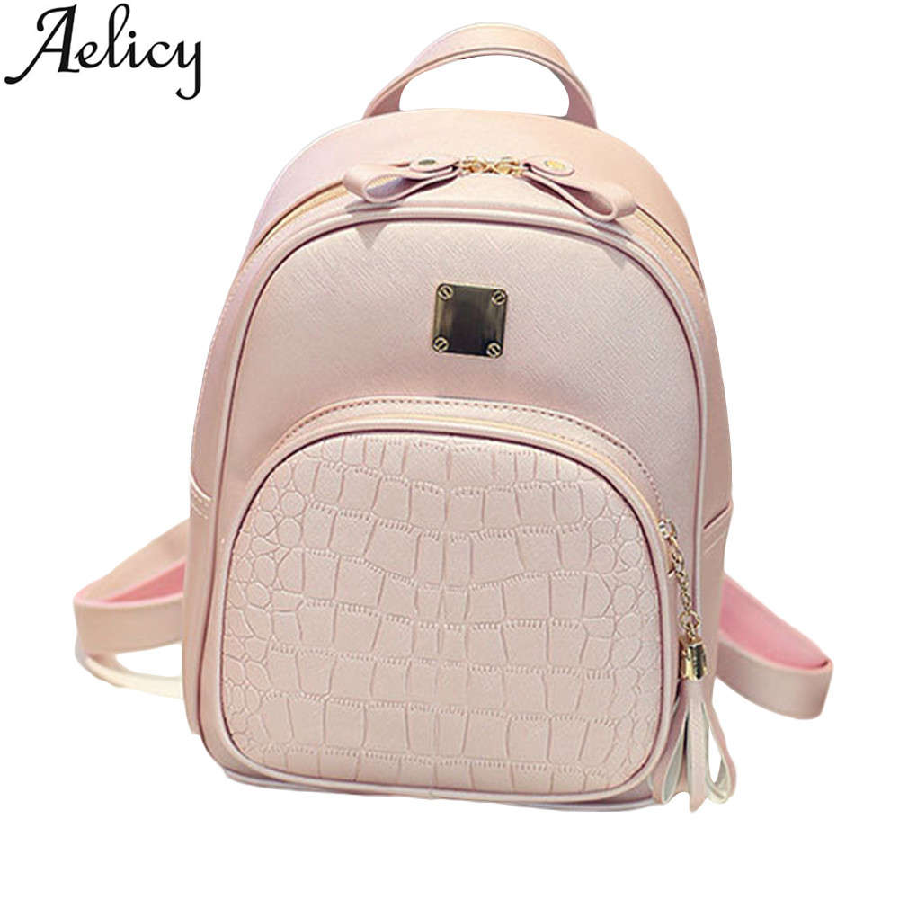 Aelicy New Fashion Women Backpacks Girl School Bag High Quality Ladies Bags Women PU Leather Backpacks