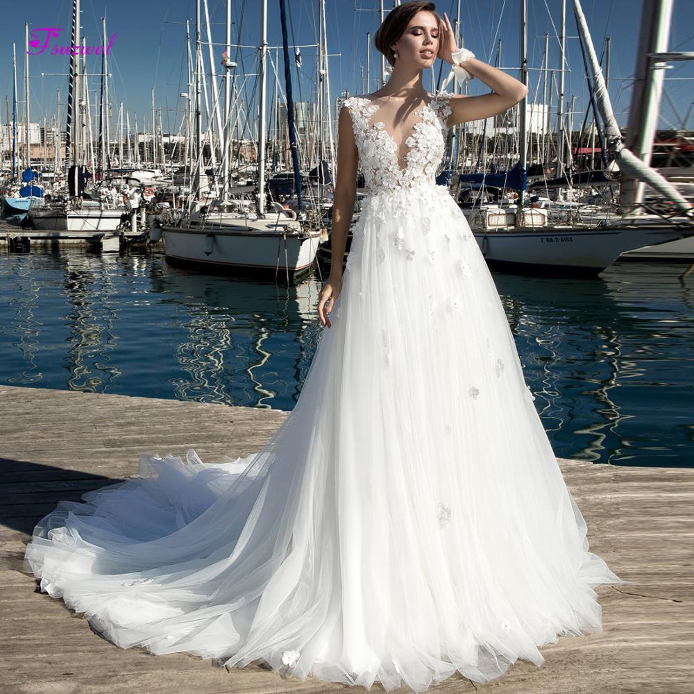 Fsuzwel magnifiques Appliques perles fleurs une ligne robe de mariée 2019 élégant Cap manches Scoop cou robe de mariée Vintage grande taille