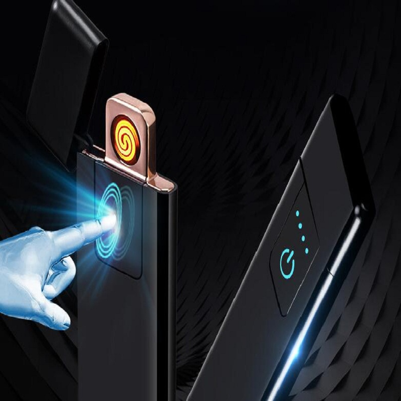 Image 2 - USB charging ultra thin creative windproof lighter personality power display fingerprint touch sensing cigarette lighter letteri-in Lighters from Home & Garden
