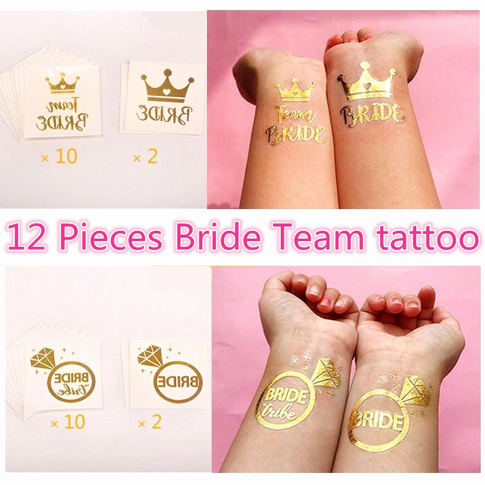 Aliexpress.com : Buy 12PCS Bride Team Tattoo Set Gold Flash Bride To ...