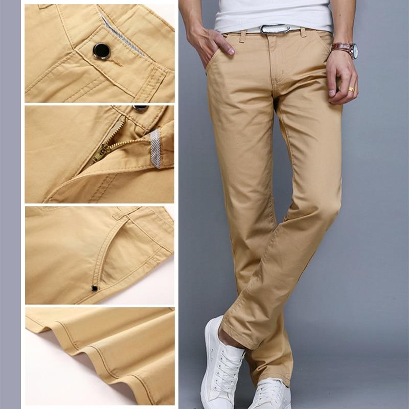0aedff995f5b Fashion Men Business Casual Pants Cotton Slim Straight Trousers ...