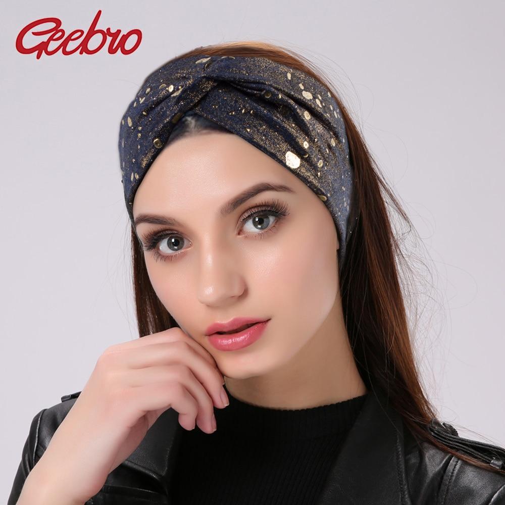 Geebro Women's Splatter Paint Wide Elastic Headbands Fashion Cross Knotted Turban Knit Spa Headband Ladies Wrap Bow Hair Band