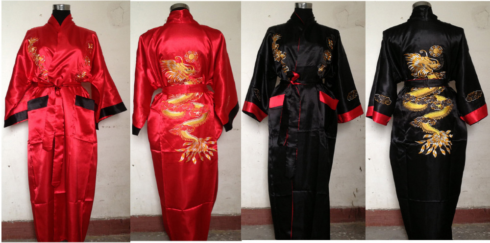 e2d706282b Chinese Style Red Black Men Women Double Face Reversible Kimono Robe Gown  Embroidery Dragon Sleepwear M L XL XXL 3XL-in Robes from Underwear    Sleepwears on ...