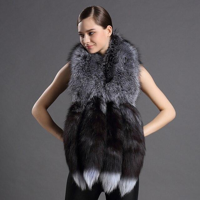 Châles en vraie fourrure pour femmes, écharpe de luxe, Design queue de renard, châle, fourrure naturelle, 2018 véritable, nouvelle version 100%