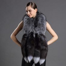 Womens Fox Scarf Real Fur Shawls and Scarves With Luxury Fox Tail Design New 2018 Women Fur Natural 100% Genuine Fur Shawl