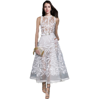 2018 Summer New Amazing White Embroidered Sleeveless Long Dress Women S Dress 180402XB03