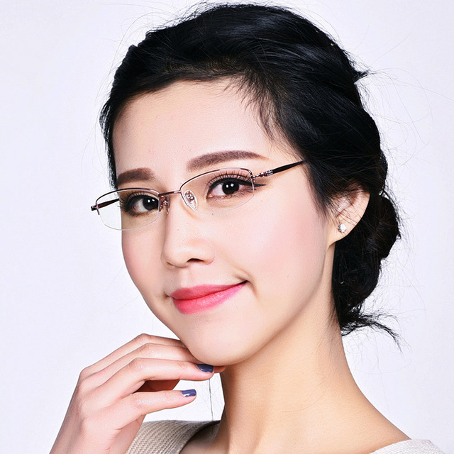 Free shipping 2015 New Pure Titanium Female Glasses semi Frame Eyeglasses Frames women Fashion Exquisite 8g Super light
