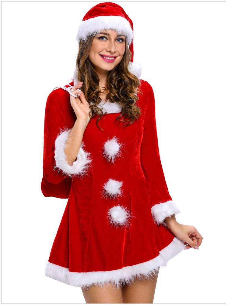 Bonne qualité robe de noël velours Sexy Costumes femmes de noël Lingerie à manches longues fête Cospaly Babydoll avec chapeau femme