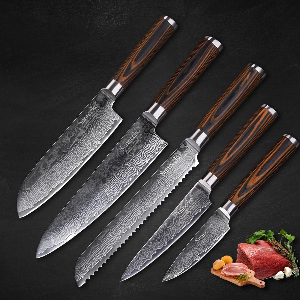 SUNNECKO 5 pcs Ensemble de Couteaux de Cuisine Couteau de Chef En Acier Damas Japonais VG10 Pakka Manche En Bois Utilitaire D'office Pain Couteau Cadeau couteau