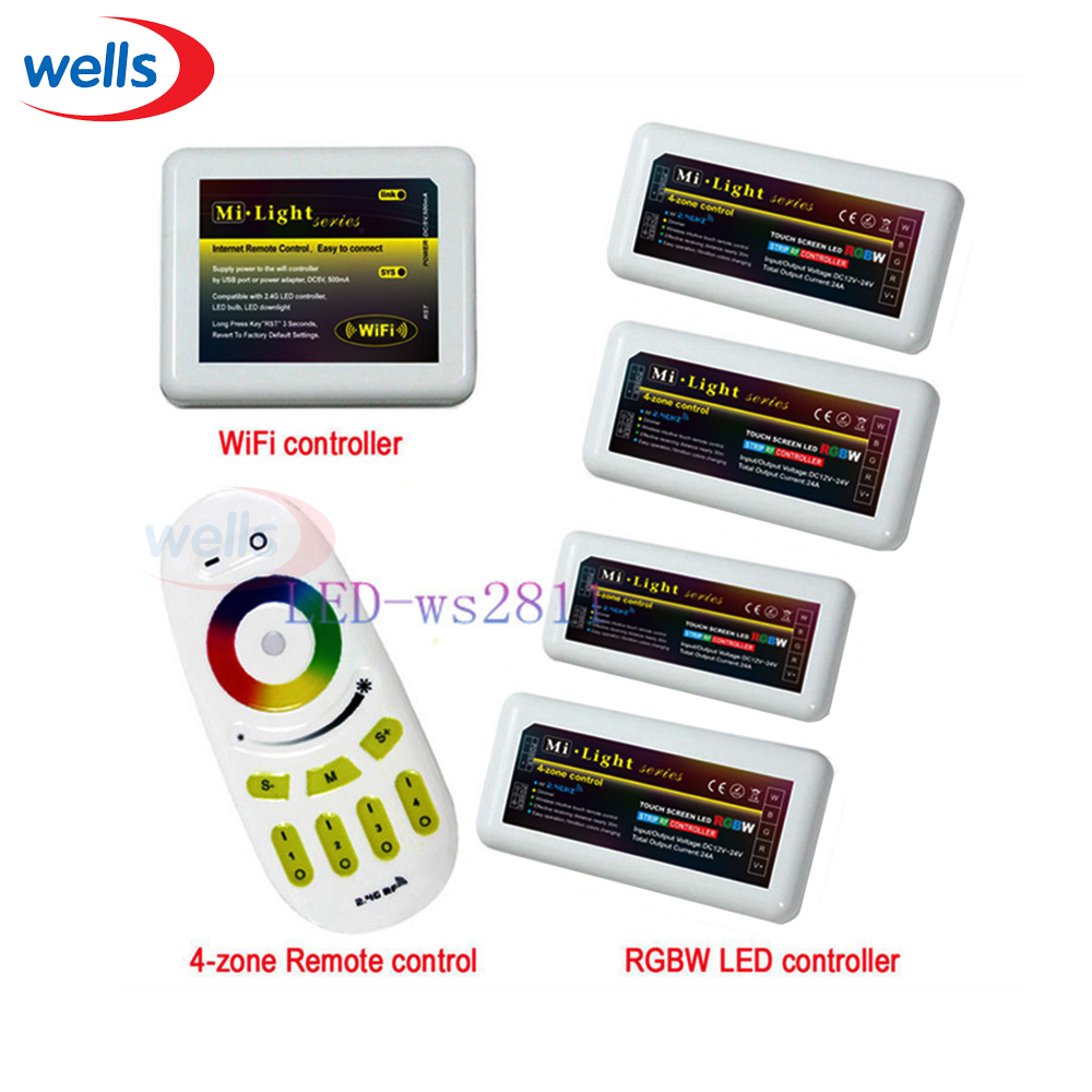 Free shipping WiFi+Remote+4x RGBW LED Controller group control 2.4G 4-Zone Wireless RF Touch For RGBW Led Strip Light Lamp Bulb milight remote wifi 4x rgbw led controller group control 2 4g 4 zone wireless rf touch for 5050 3528 rgbw led strip light