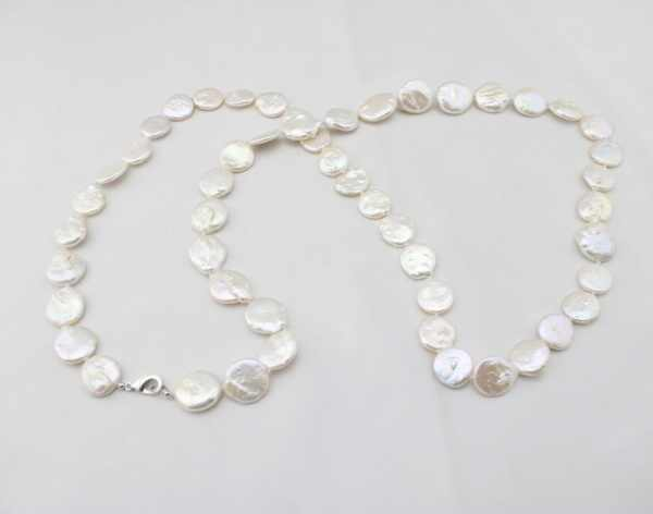 """Shadela Fashion Elegant Vintage  Beads 004 Handmade 37\"""" long bridal necklace with 15-16mm Coin Freshwater Pearl Necklace"""