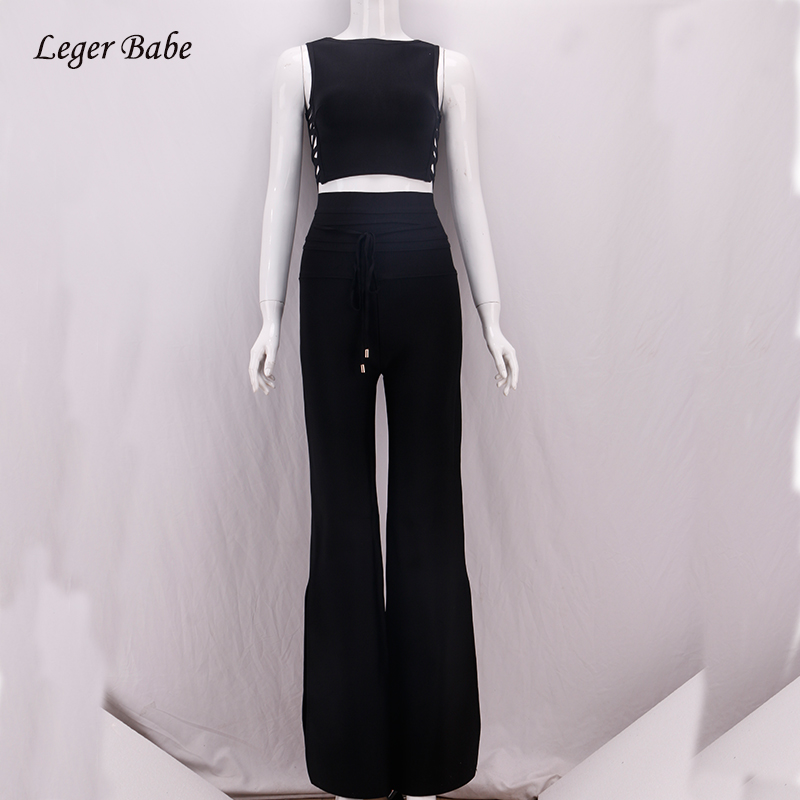 Leger Babe 2018 Black Women Outfit O-Neck Sleeveless Crisscross Holow Out Lace Up Long Pants Going Out Bandage Two Piece Set