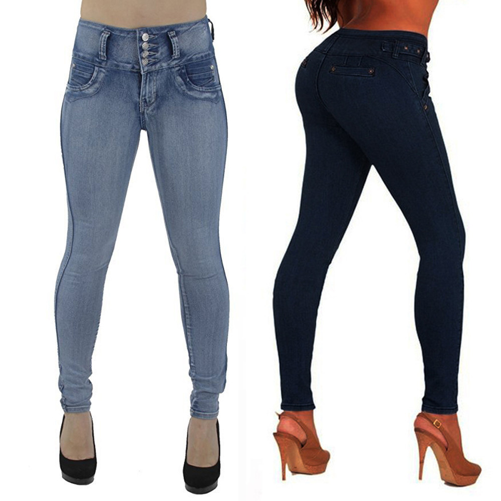 Women High Waisted Skinny soft and comfortable Denim   Jeans   Stretch Slim Pants Calf Length   Jeans   L50/0130