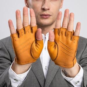 Image 2 - Nouveauté printemps hommes gants en cuir véritable conduite sans doublure 100% chèvre demi doigt gants sans doigts salle de sport Fitness gants